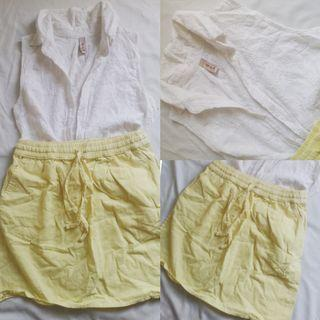 F21 Skirt and White Detailed Sleeveless Top