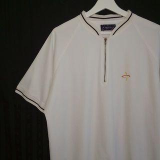 🚚 Planetgolf ✼白色半開襟上衣✼ 拉鍊 小樹椰子刺繡貼布 網狀內裡 插肩袖 寬鬆中性 日本古着Vintage