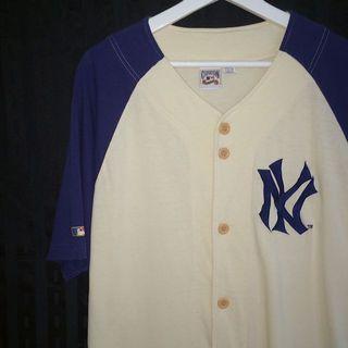 🚚 Cooperstown ✼NY棒球上衣✼ 米色 Yankees洋基刺繡 寬鬆中性 排扣罩衫 運動 日本古着Vintage