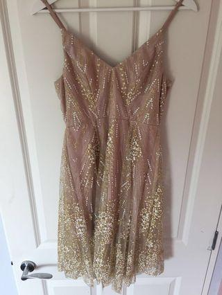 Showpo Pink and Gold Formal Dress