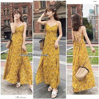 yellow strappy beach dress