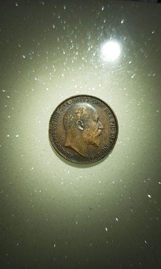 1906 Great Britain King Edward Vll Farthing Coin