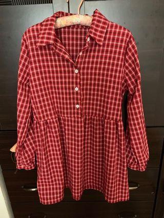 紅白格子八分袖洋裝(也可當長版上衣)