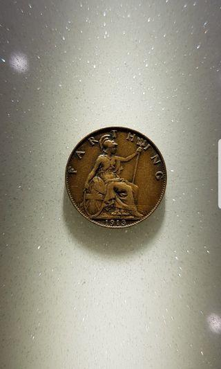 1913 Great Britain King Georgivs V Farthing coin