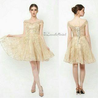 Halle Sabrina Gold Gown