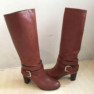 Staccato 真皮啡色羊皮長boots