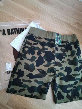 Bape green camo shorts