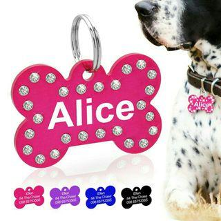 [Pre-Order] Personalized Crystal Dog ID Tag Customized Rhinestone Bone Shape