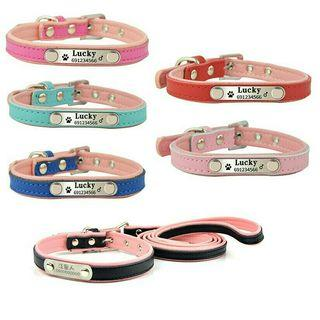 [Pre-Order] Soft Leather Pet Personalized Collar Dog Cat Puppy Collars Engraving Pet Name Phone ID Matched Leash Lead Set