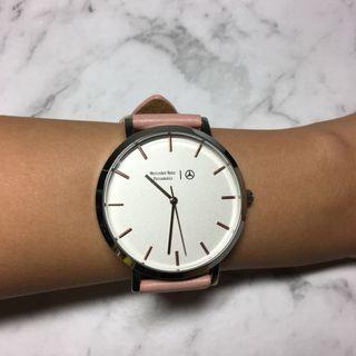 Mercedes pink leather watch
