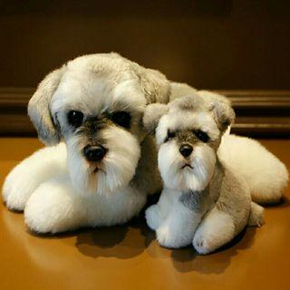 [Pre-Order] Real Life Simulation Schnauzer Dog Plush Toy