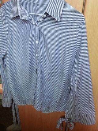 前短後長藍色條紋襯衫