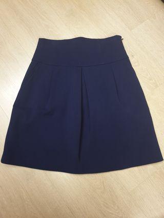 🚚 Zara navy blue A line skirt