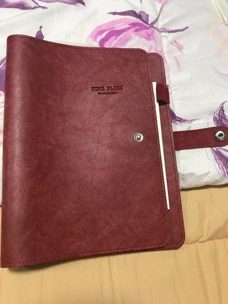 Red leather A5 organiser diary 6 holes
