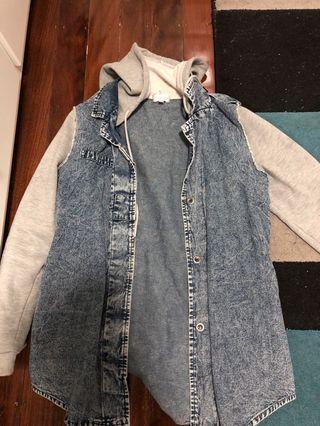 Denim with grey sleeve jacket