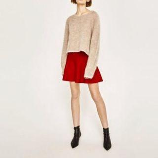 Basic Zara Trafaluc Red Skater Mini Skirt