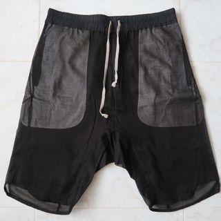 🚚 Rick Owens Island Black Double Layer Drop Crotch Shorts