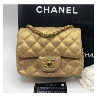 Authentic Chanel Classic Mini Square Gold Caviar Ghw