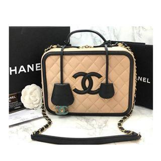 Authentic Chanel Vanity Case Large Beige Caviar