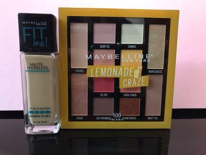 Maybelline Fit Me Matte + Poreless Foundation #128。Maybelline eyeshadow palette - Lemonade Craze 遮瑕加眼影280$180
