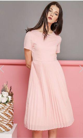 Kate Midi Pleated Dress in Powder Pink XS