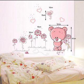 Pink Bear Kitten Seashell Wall Sticker