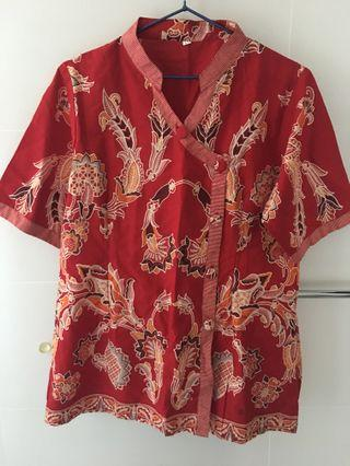 Batik Red Floral size L equal uk 14 xl