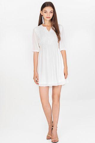 Adela Babydoll Dress in White