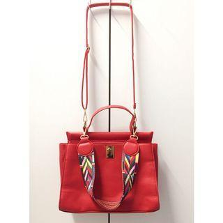 OL紅色2way肩背手提方包