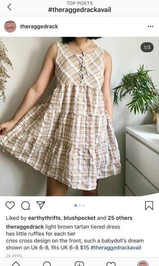 🚚 Brown Tartan checkered tier dress
