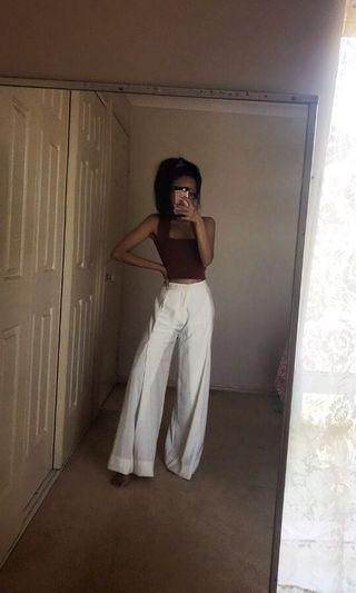 High Waisted White Business Pants