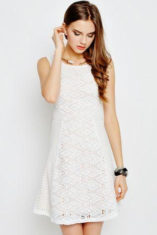 TAMMI GEOMETRIC EYELET DRESS WHITE