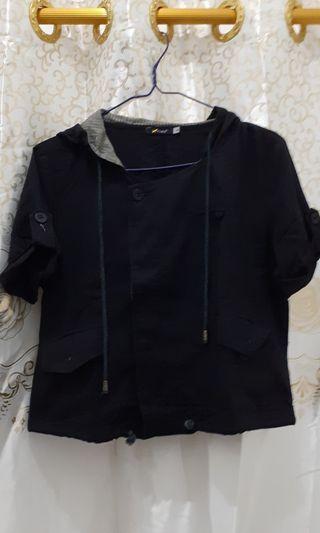 Black Blouse Crop Top