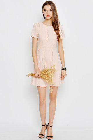 DEW ROSES EYELET DRESS PINK
