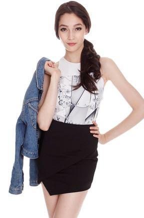 MDS Black Asymmetrical Wrap Skirt