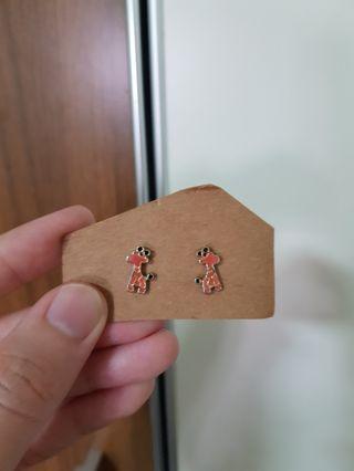 Salmon pink giraffe studs earrings
