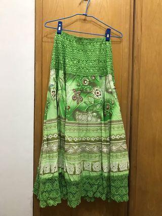 🚚 《亂買出清》2way南洋風鬆緊長裙-綠