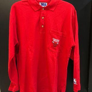 🚚 NBA 公牛 紅色 長袖polo衫 老品 vintage