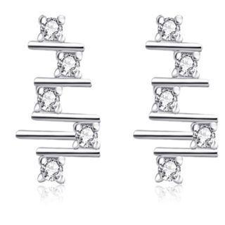 Glistening Cubic Zirconia Geometric Earrings - New