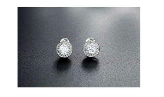 Sparkling White Gold Plated Cubic Zirconia Stud Earrings - NEW
