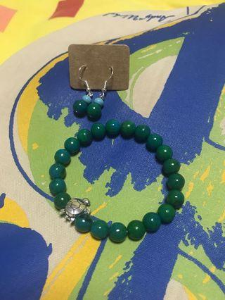 🚚 8mm teal chrysocolla bracelet crystals with matching earrings turtle charm