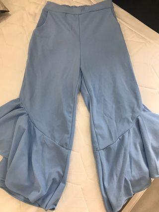 Sky Blue Ruffle Pants 3/4