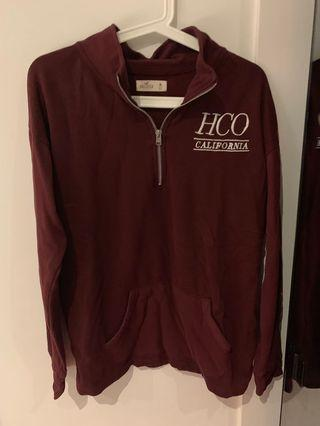 Hollister half zip maroon sweater