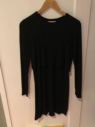 A&F two tier long sleeve black dress