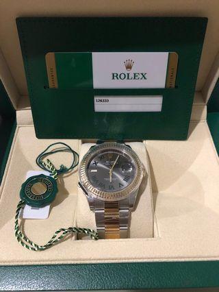 Rolex Datejust 41 126333-0019 Wimbledon Dial Fluted Bezel