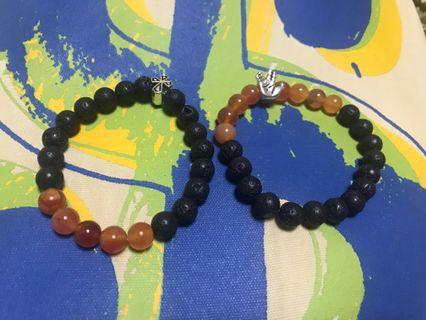 🚚 Lava bead with red agate and hand or cross charm handmade