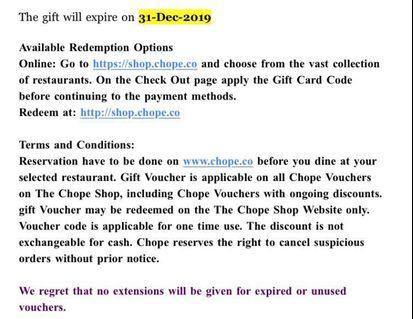 Chope Gift Voucher Code worth $10