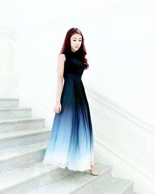 Theory of Seven Ombre Blue Maxi Dress