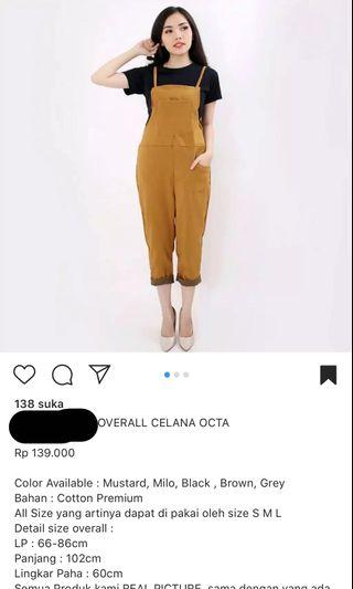 OVERALL BROWN NEW FREE ONGKIR