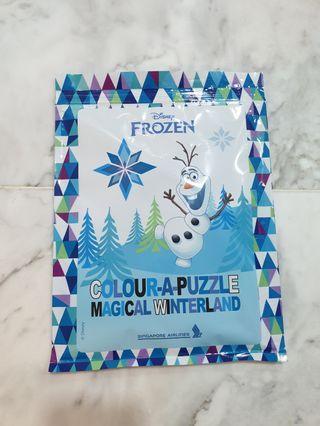 Disney Frozen colour a puzzle activity pack jigsaw and colour pencils